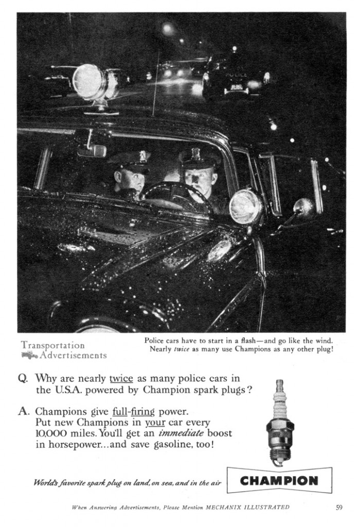 Champion Spark Plug Advertisement from 1958