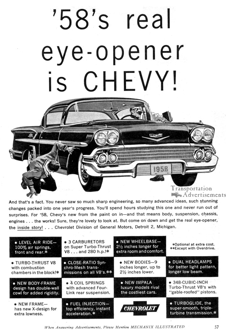 1958 Chevrolet Advertisement