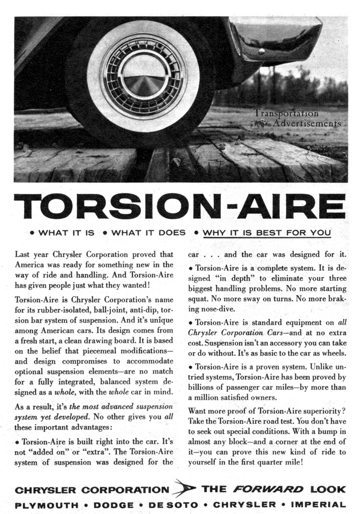 1958 Chrysler Torsion-Aire Advertisement