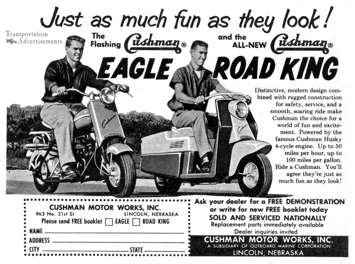 1958 Cushman Eagle and Road King Scooter Advertisement