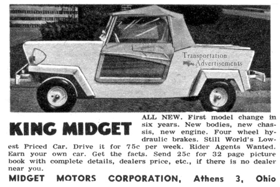 1958 King Midget Advertisement