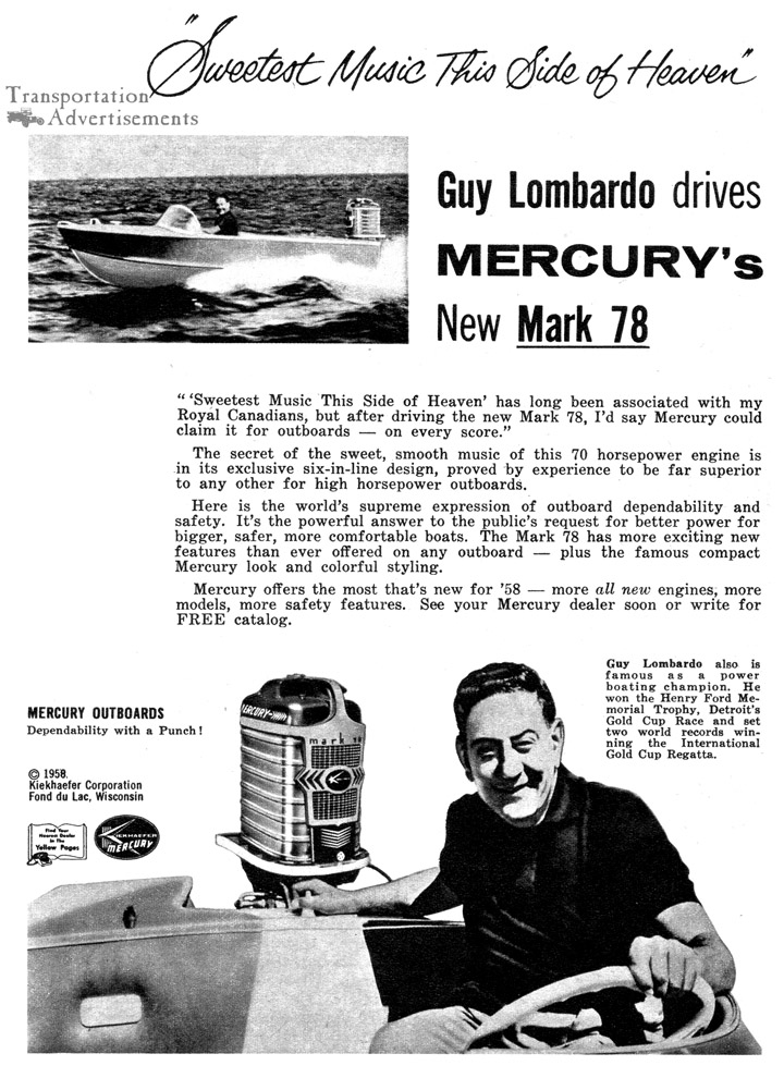 1958 Mercury Outboards featuring Guy Lombardo