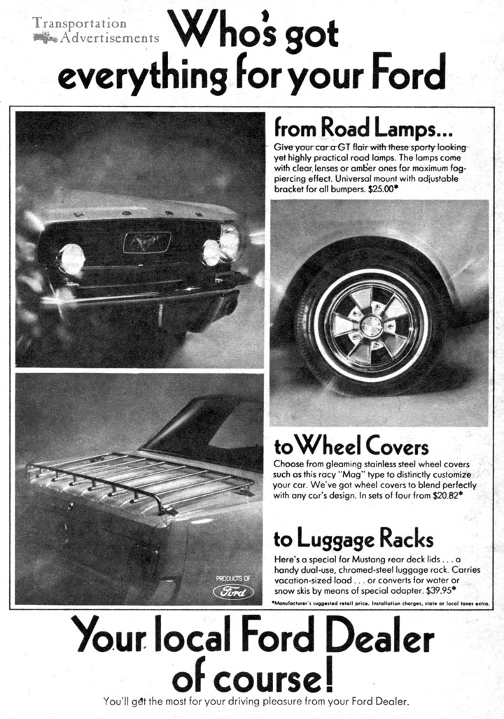 1966 Ford Mustang Dealer Accessories Advertisement