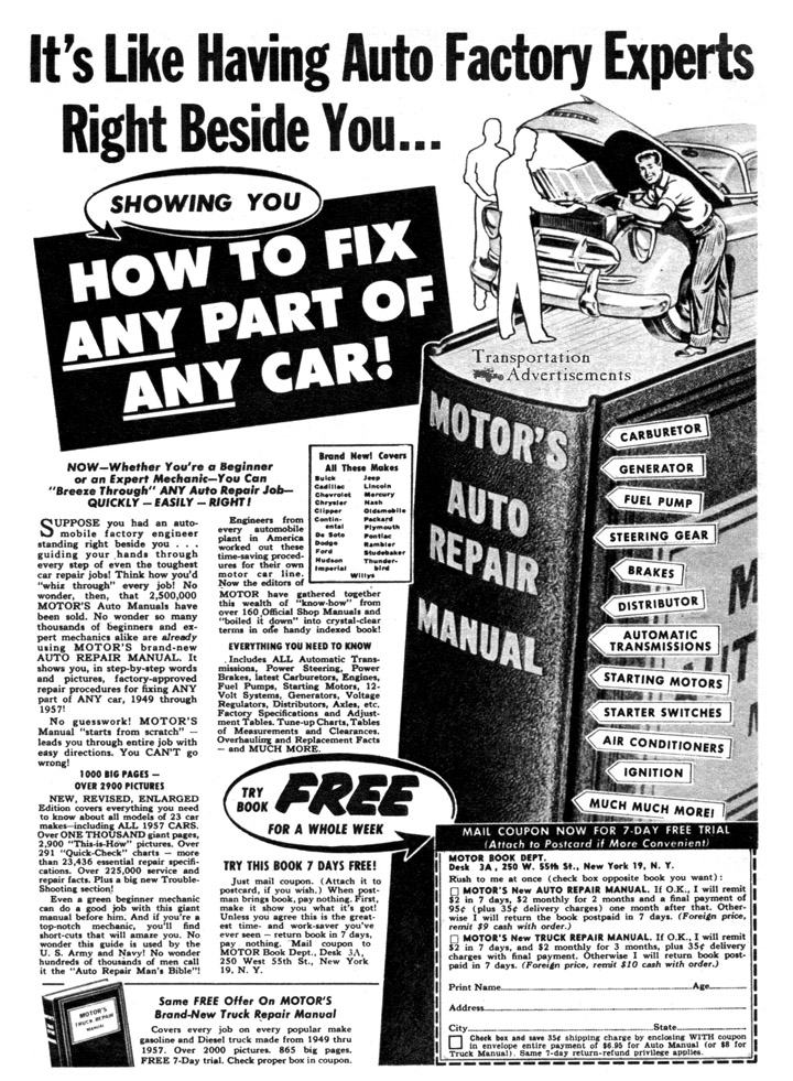 1958 Motor's Auto Repair Manual Advertisement