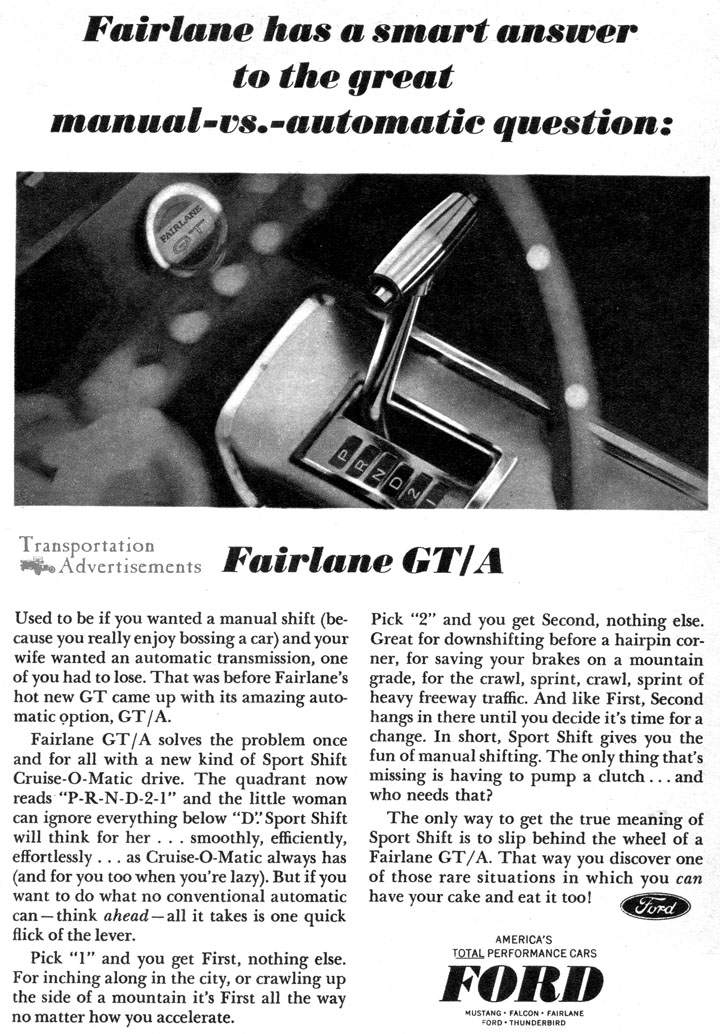 1966 Ford Fairlane GT/A Advertisement