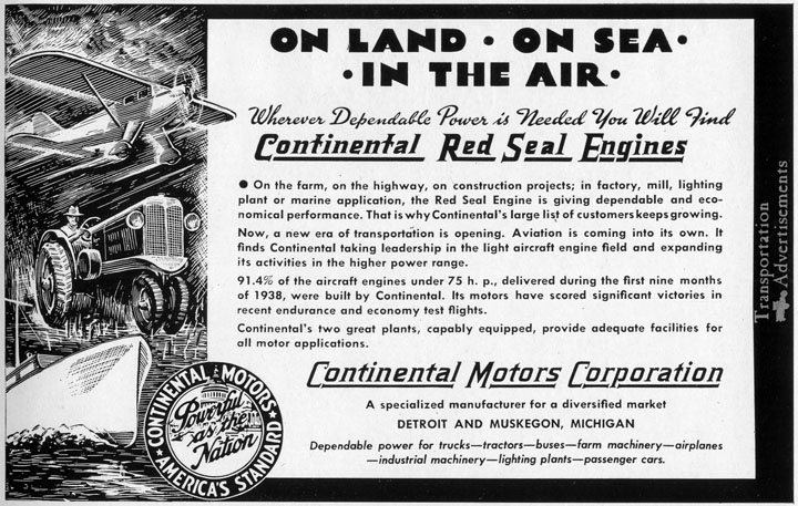 1939 Continental Motors advertisement