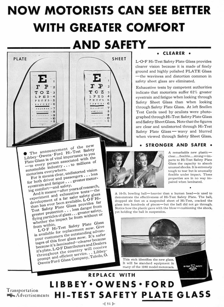 1939 Libbey Owens Ford Safety Plate Glass advertisement