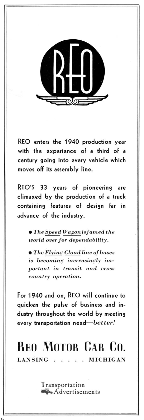 1939 REO Motor Car Company advertisement