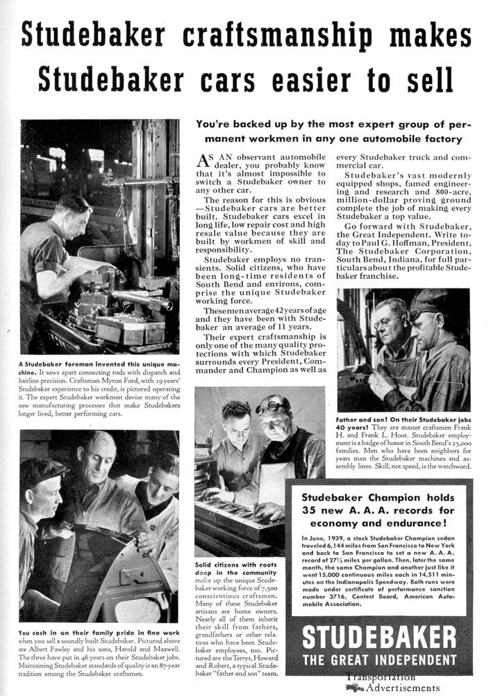 1939 Studebaker advertisement