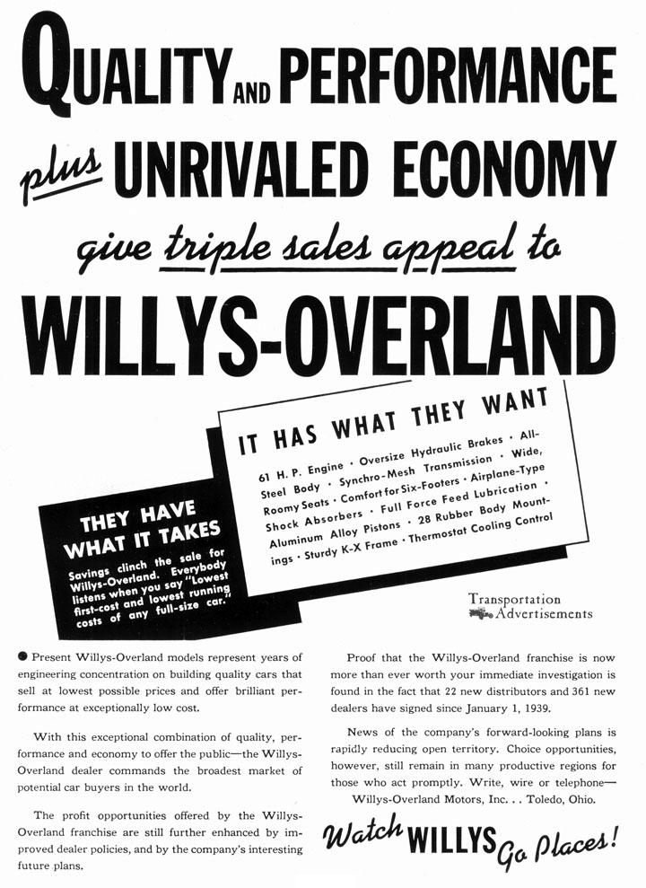 1939 Willys-Overland advertisement