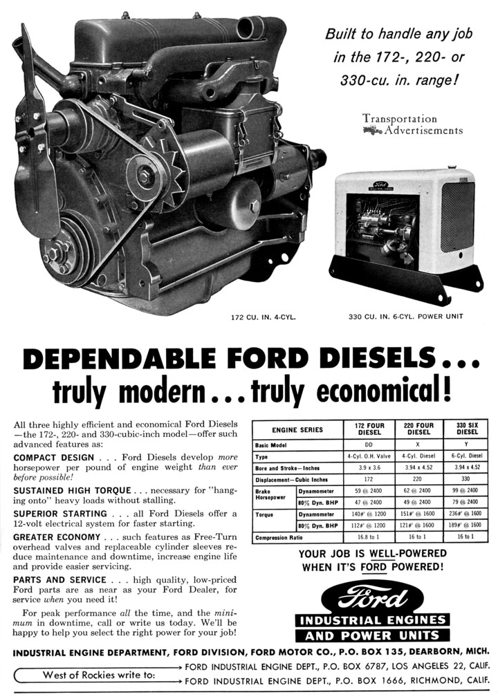 1961 Ford Industrial Engines and Power Units ad