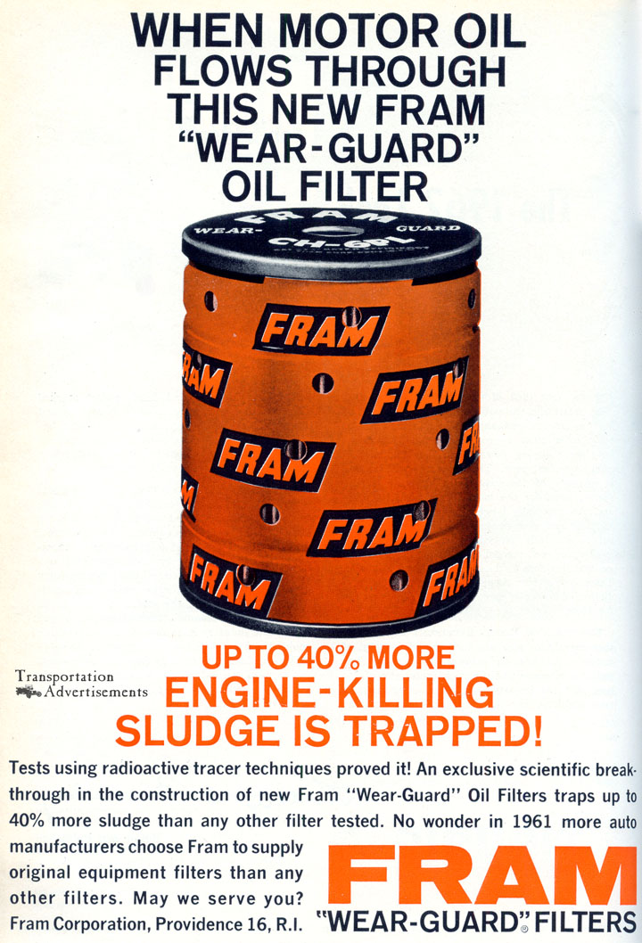1961 Fram Oil Filter advertisement