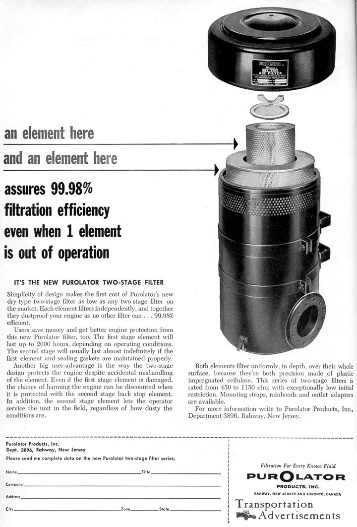 1961 Purolator Oil Filter advertisement