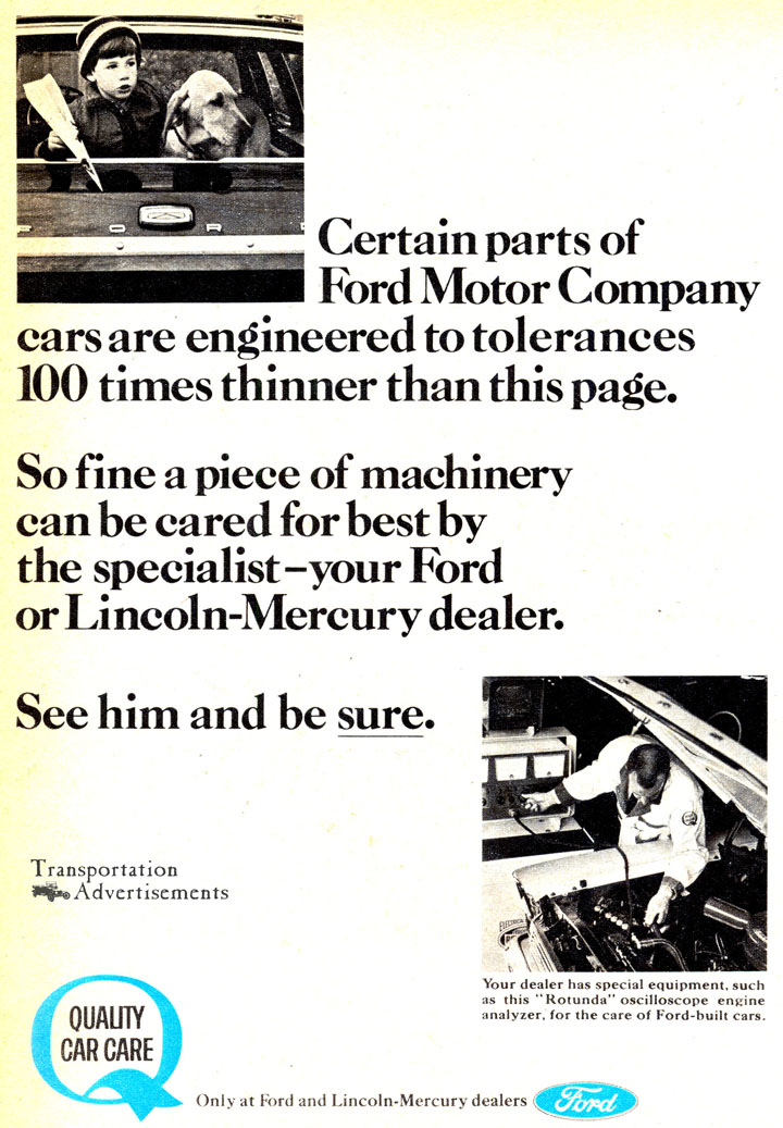 1966 Ford Motor Company Quality Car Care advertisement