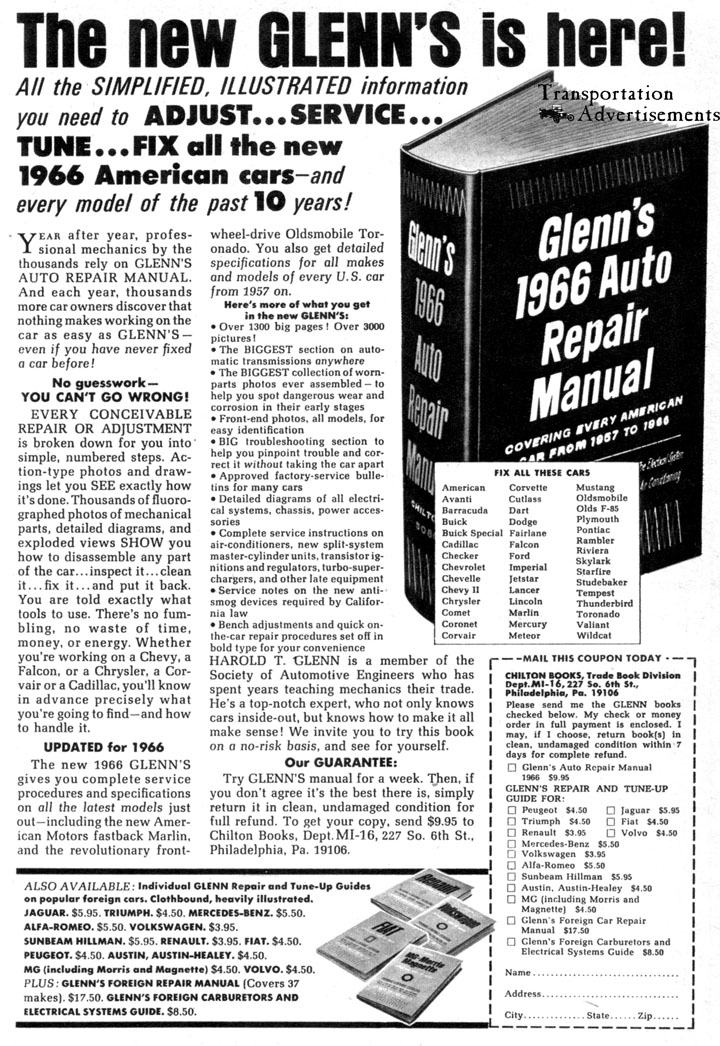 1966 Glenn's Auto Repair Manual Advertisement