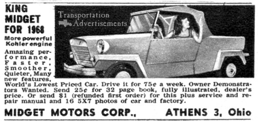 1968 King Midget Advertisement