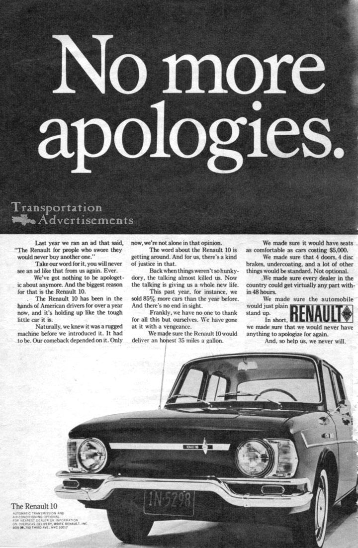 1968 Renault 10 Advertisement