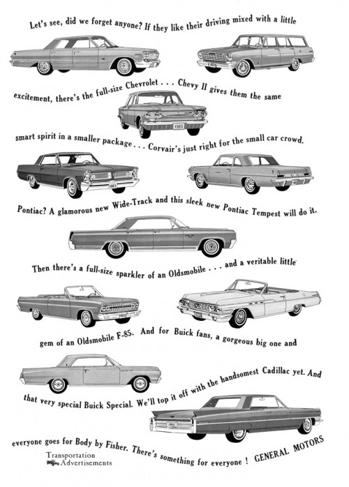 1963 General Motors line up advertisement