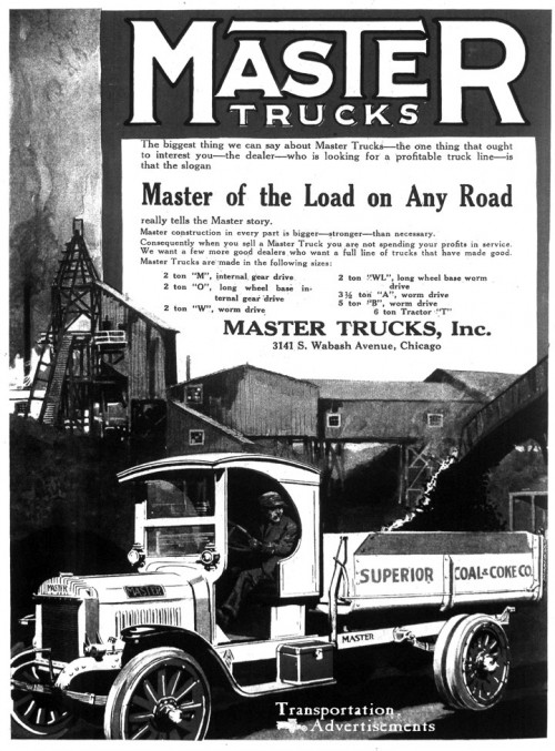 1918 Master Trucks Advertisement