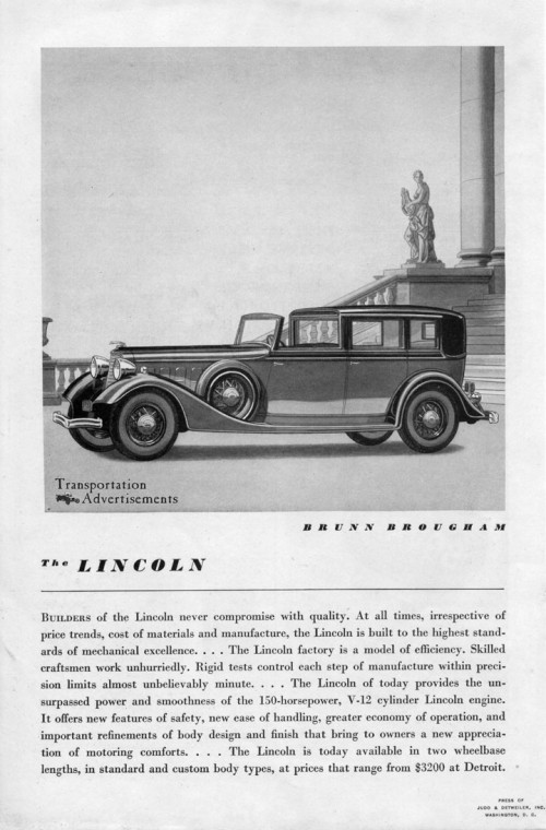 1934 Lincoln Brunn Brougham ad
