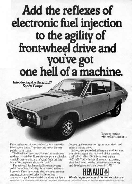 1973 Renault 17 Sports Coupe advertisement