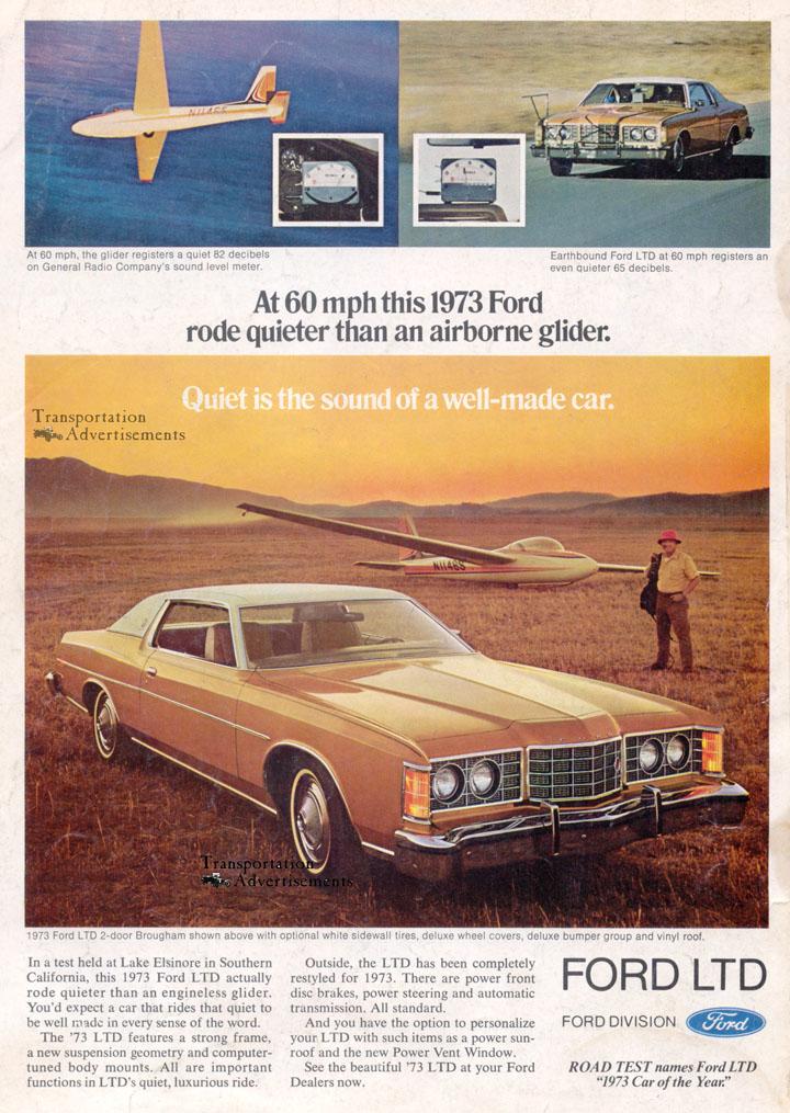 1973 Ford Ltd Glider Quiet Transportation Advertisements